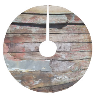 Old wood rustic boat wooden planks brushed polyester tree skirt