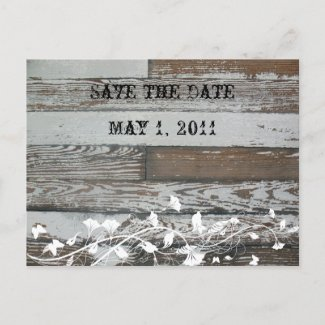 Old Wood Save the Date postcard