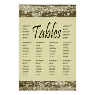 Old Wood Seating Chart, Gold Tint Poster