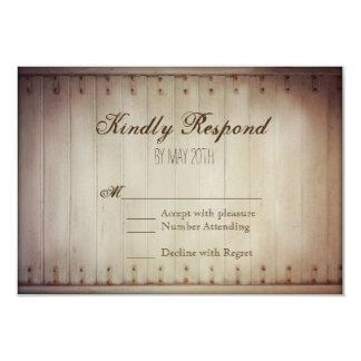 Old Wood Slat Door Rustic Wedding RSVP Cards