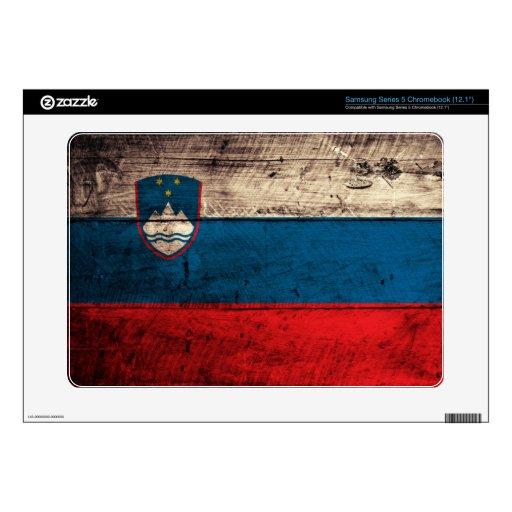 Old Wood Slovenia Flag; Samsung Chromebook Decal
