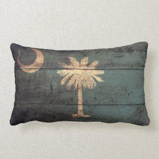 Old Wood South Carolina Flag; Throw Pillow
