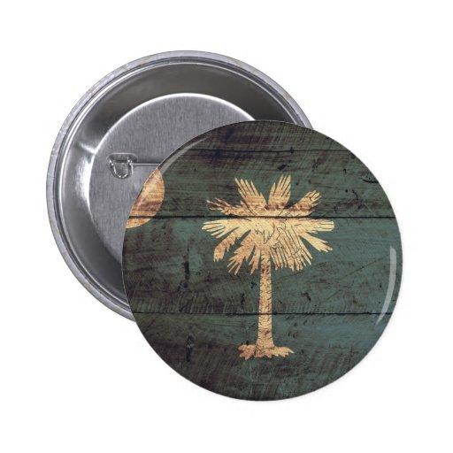 Old Wood South Carolina Flag; Pinback Button