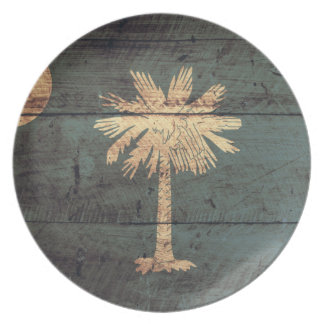 Old Wood South Carolina Flag; Party Plate