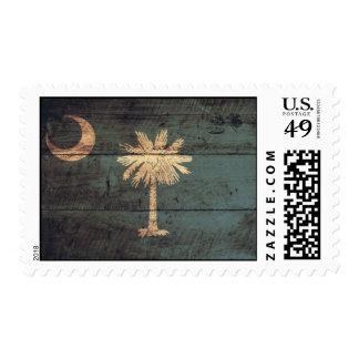 Old Wood South Carolina Flag; Postage Stamps