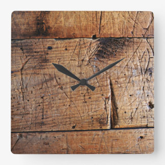 """""""Old Wood"""" Square Wall Clock"""