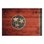Old Wood Tennessee Flag; Poster