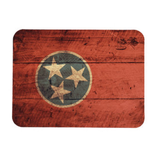 Old Wood Tennessee Flag; Rectangular Photo Magnet