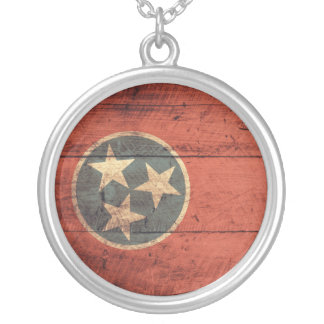 Old Wood Tennessee Flag; Round Pendant Necklace