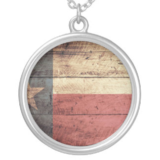 Old Wood Texas Flag Round Pendant Necklace
