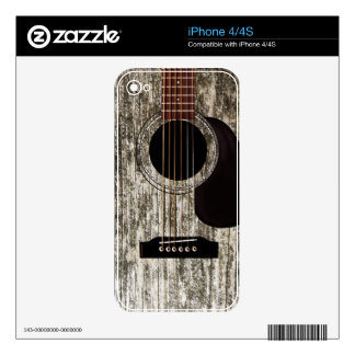 Old Wood Top Acoustic Guitar Skins For iPhone 4