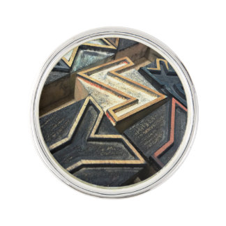 Old wood type letters lapel pin
