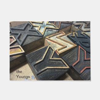 Old wood type letters XYZ Doormat
