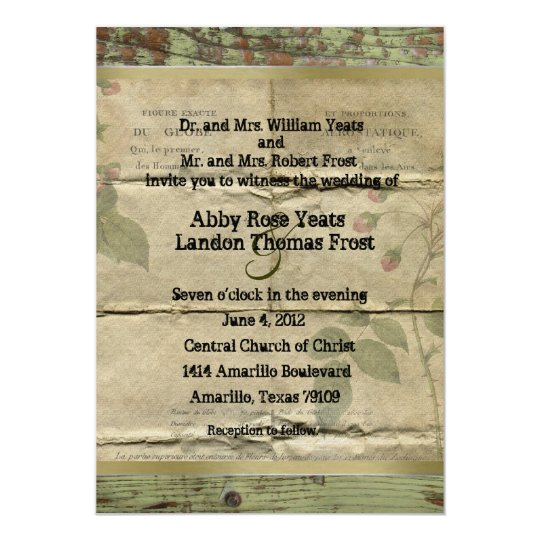 French Vintage Wedding Invitations: Old Wood, Vintage French Paper Wedding Invitations