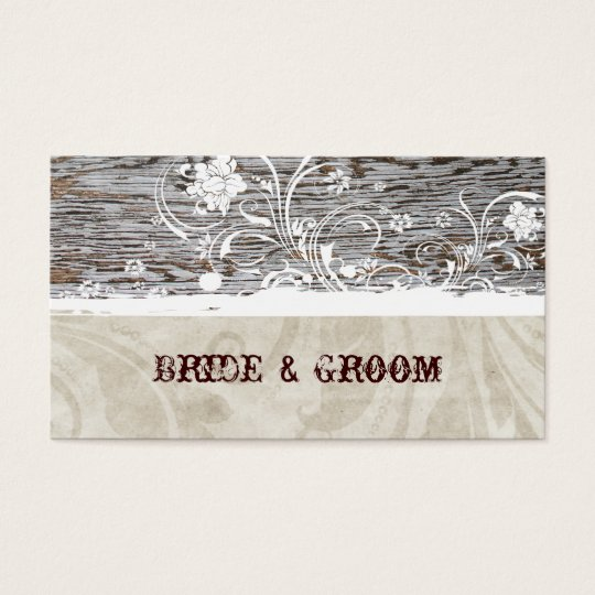 Old Wood Vintage White Lace Place Cards