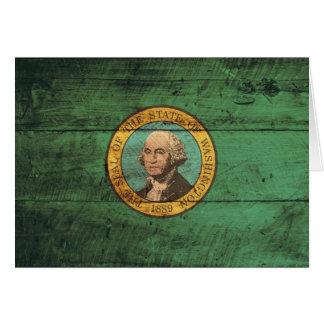 Old Wood Washington Flag; Card