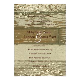 Old Wood Wedding Invitation--Gold Tint 5x7 Paper Invitation Card