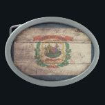"Old Wood West Virginia Flag Oval Belt Buckle<br><div class=""desc"">West Virginia Flag; West Virginian</div>"