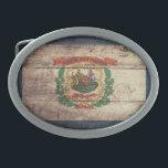 """Old Wood West Virginia Flag Oval Belt Buckle<br><div class=""""desc"""">West Virginia Flag; West Virginian</div>"""