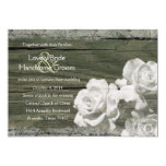 Old Wood White Ghost Roses Wedding Invitation