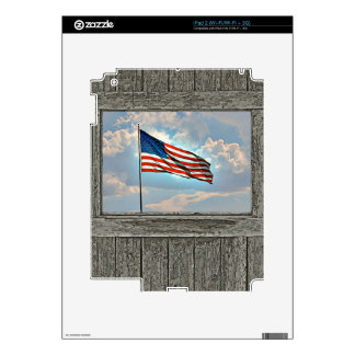 Old wood window American flag Decal For iPad 2