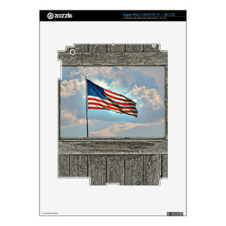 Old wood window American flag Decals For iPad 3