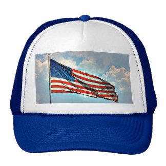 Old wood window American flag Trucker Hat
