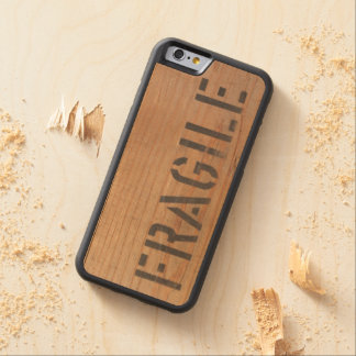 Old Wood with Fragile Sign Carved Maple iPhone 6 Bumper Case