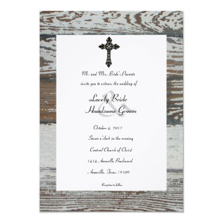 Old Wood, Wrought Iron Cross Rustic Wedding 5x7 Paper Invitation Card