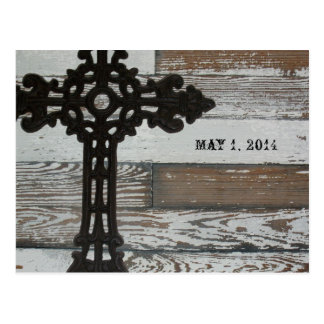 Old Wood, Wrought Iron Cross Save the Date Postcard