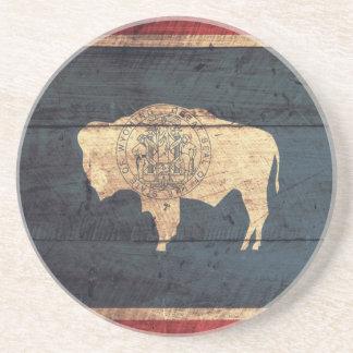 Old Wood Wyoming Flag Coaster