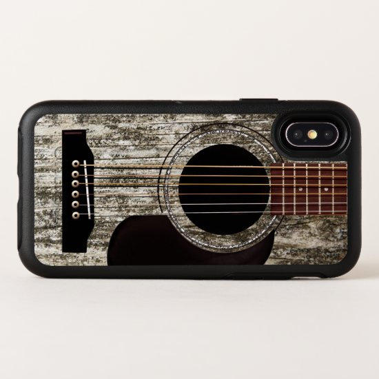 Old Wooden Acoustic Guitar OtterBox Symmetry iPhone X Case