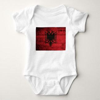 Old Wooden Albania Flag Baby Bodysuit