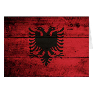 Old Wooden Albania Flag Card