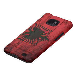 Old Wooden Albania Flag Galaxy S2 Cases