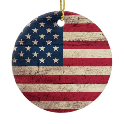 Old wooden american flag double sided ceramic round