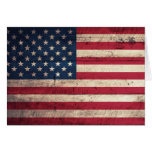 Old Wooden American Flag Greeting Cards