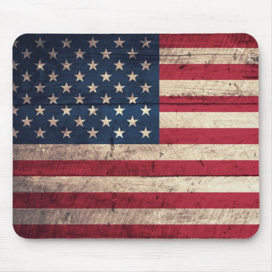 Old Wooden American Flag Mouse Pad