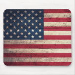 Old Wooden American Flag Mouse Pads