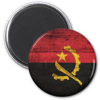 Old Wooden Angola Flag 2 Inch Round Magnet