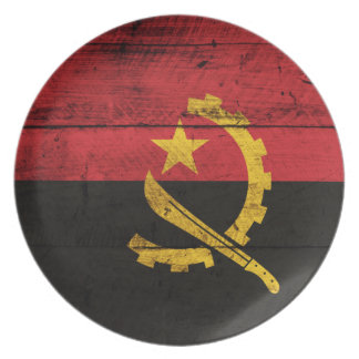 Old Wooden Angola Flag Dinner Plates
