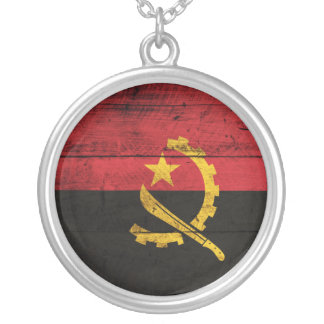 Old Wooden Angola Flag Round Pendant Necklace