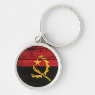 Old Wooden Angola Flag Silver-Colored Round Keychain