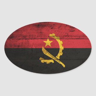 Old Wooden Angola Flag Oval Sticker