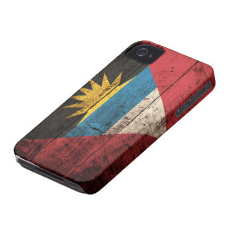 Old Wooden Antigua & Barbuda Flag iPhone 4 Case