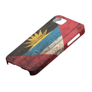Old Wooden Antigua & Barbuda Flag iPhone SE/5/5s Case
