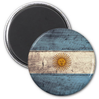 Old Wooden Argentina Flag Magnet