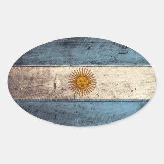 Old Wooden Argentina Flag Oval Sticker