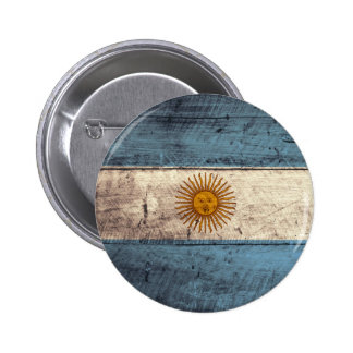 Old Wooden Argentina Flag Pinback Button