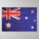 Old Wooden Australia Flag Poster